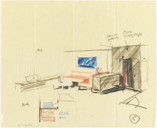 Drawing, Rough sketch, room, for Uris Hotel