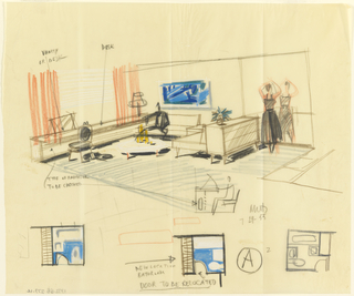 Drawing, Rough Sketch of Room for Uris Hotel