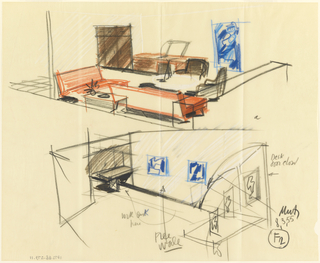 Two views of design for hotel room.