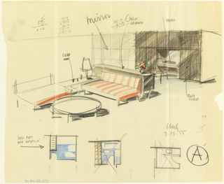 Drawing, Rough sketch, room A, for Uris Hotels