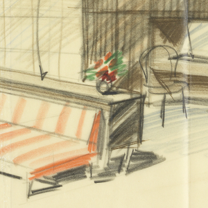 Detailed sketch of room with furniture. Lower margin, three separate plans for bathroom.