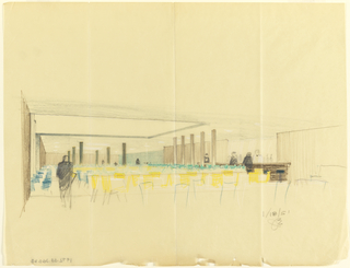 Drawing, Rough sketch (bar/lounge?), for Uris Hotels