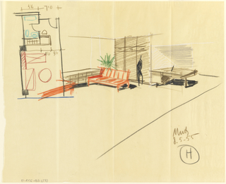 Drawing of room with figure to give sense of scale. Upper left, birds-eye view of room plan.