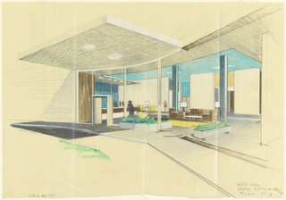 Drawing, Sketch: lobby at entrance, for Uris Hotels