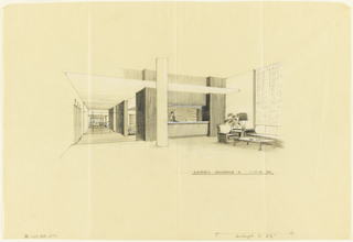 Drawing, Sketch, lobby, Scheme A, for Uris Hotel