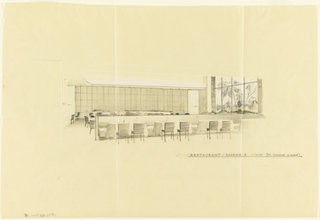 Drawing, Sketch, restaurant A, for Uris Hotel
