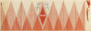 Row of large and small triangles composed of vertical lines, spaced out and close together. At center, a red rhomboid outlined in silver with two facing lions.