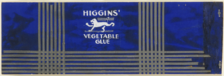 Product label for Higgins Vegetable Glue in blue with silver stripes and a white lion.