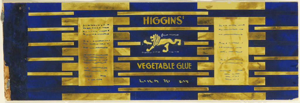 Product label for Higgins Vegetable Glue with metallic paper and a lion.