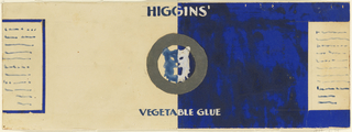 Product label for Higgins Vegetable Glue with metallic paper, and head of wild cat.