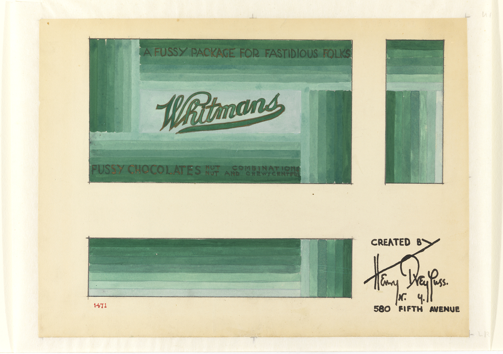 Gradation of green stripes make up the packaging, center: Whitmans; on front of package: A fussy package for fastidious folks.