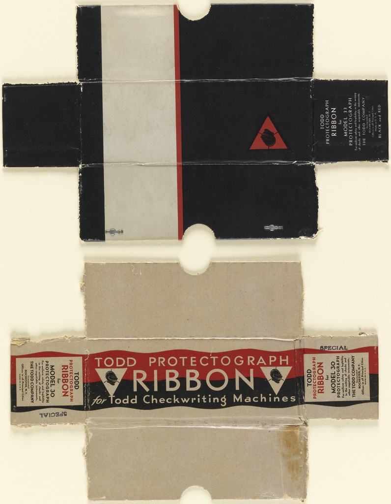 Product packaging for box of Todd Checkwriting Machine ribbon with black, red, and white.