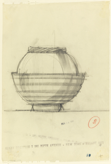 Round jar with horizontal lines.