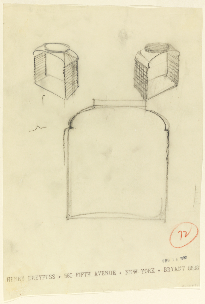 Three views of a jar with sides in shape of toast.