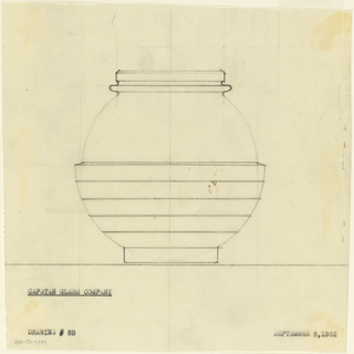Spherical jar with horizontal bands.