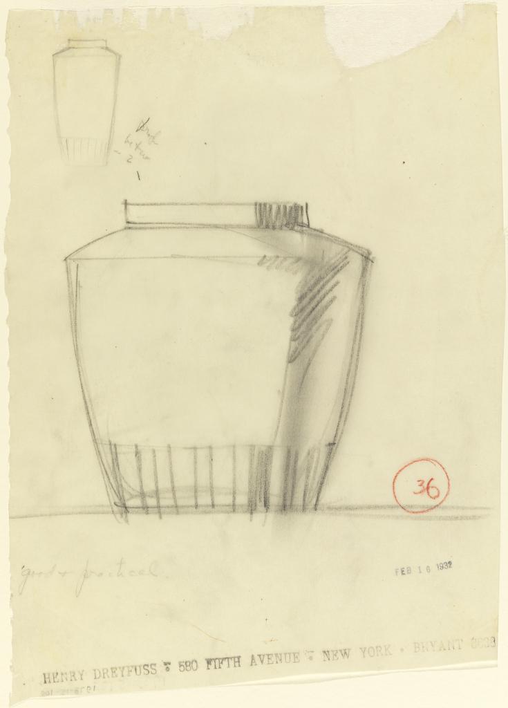 Jar with vertical bands at base; smaller version upper left.