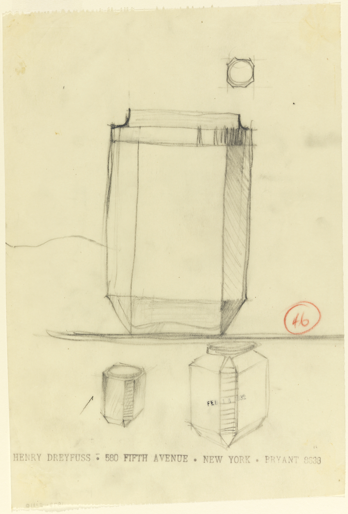 Jar with two flat sides, its plan and two small versions below.