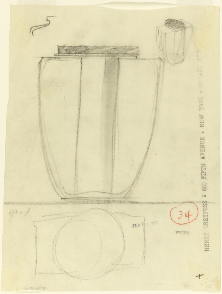 Jar, plan and two views.