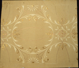 Scroll design in cream on ingrain paper. Mica finish.  No 3442. No. 2285.