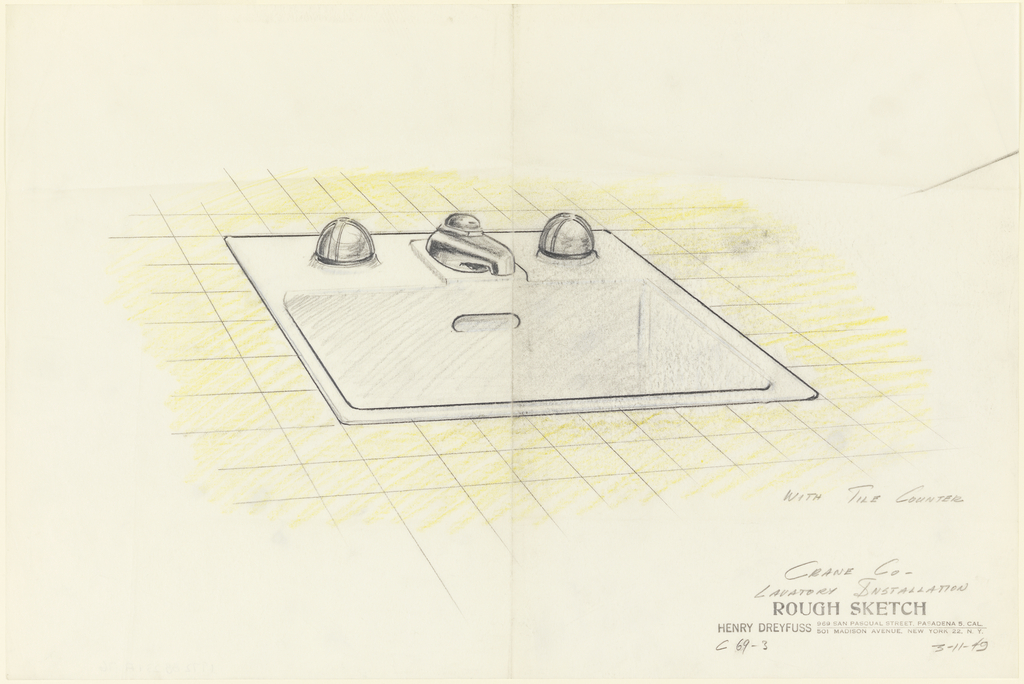 Drawing, Lavatory Installation: Sink with Tile Counter for Crane Co.