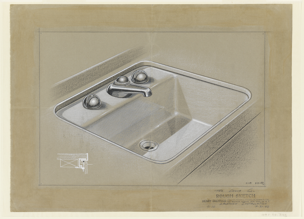 Design for Crane Co. sink with cross-section at lower left.