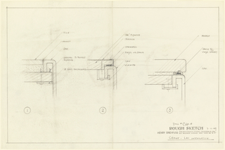 Drawing, Lavatory installation - drawing of sink and counter materials, (3 views)