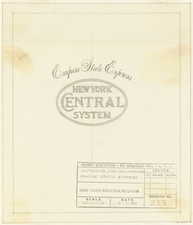 Drawing, Empire State Express- lettering for cowcatcher, for New York Central System