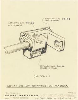 Drawing, The focus flash- location of graphics on flashgun, for Polaroid