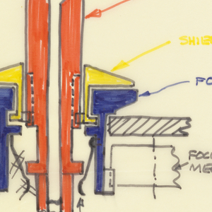Colored drawing of schematics of control knobs for Polaroid camera.
