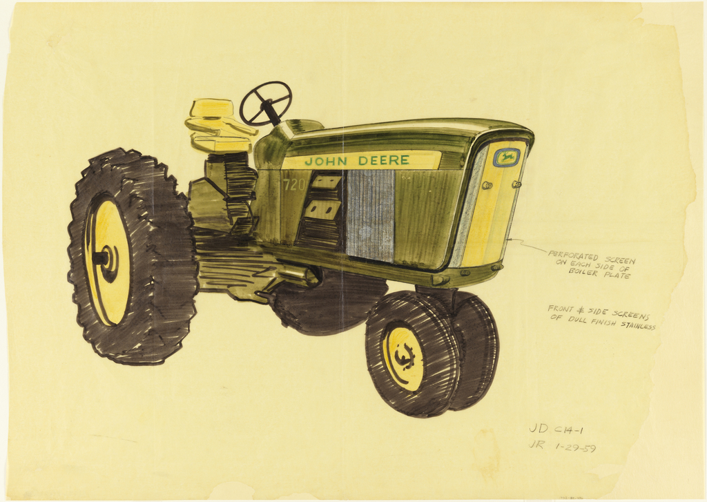 Sketch with details of front and side screens of John Deere tractor.