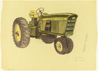 Drawing of design for John Deere tractor highlighting front and side screens.