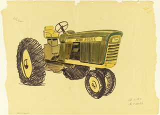 Detailed drawing of John Deere tractor with view of front and side screens