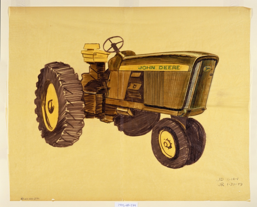 """Design for a green John Deere tractor, a vehicle intended for agricultural, farming, or construction purposes, facing left to highlight front and side screens. Features yellow and black tires, a yellow seat, a yellow horizontal strip across the side with the words """"JOHN DEERE"""" in green, and the green and yellow leaping deer company logo on the front."""
