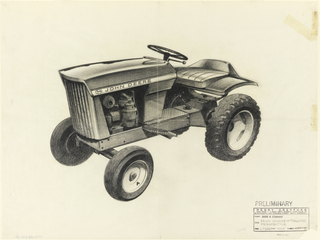 Sketch of John Deere tractor viewed from side.