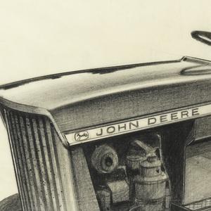 Sketch of John Deere tractor viewed from side.