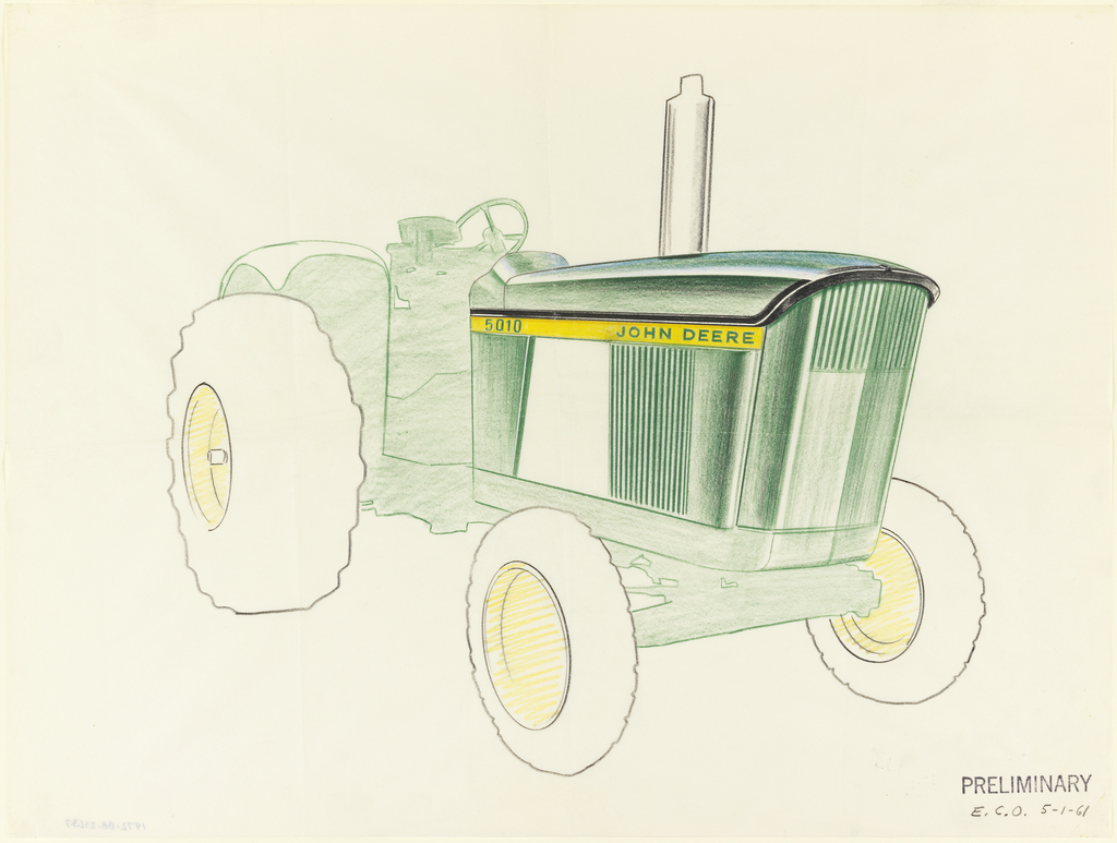 Partially colored sketch of John Deere tractor with completed details of front and side screens.