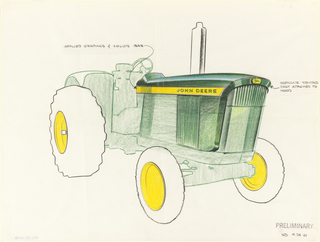 "Sketch of John Deere tractor, a vehicle intended for agricultural, farming, or construction purposes. The design highlights the front and side screens. The center of the tires are colored yellow, and the body of the tractor is primarily green. A yellow horizontal strip appears across the side with the words ""JOHN DEERE"" in green, and the green and yellow leaping deer company logo is seen on the front. Vertical grills appear on the front and side."