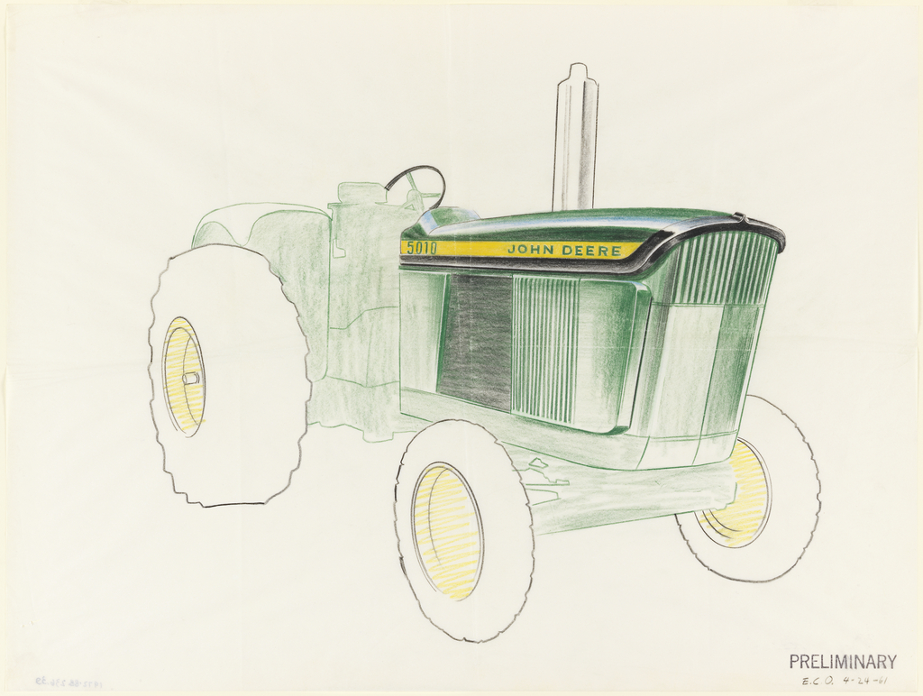 Sketch of John Deere tractor with completed, colored details of front and side panels.
