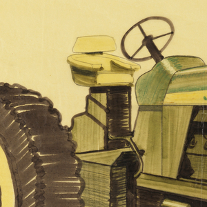 """Design for a John Deere tractor, a vehicle intended for agricultural, farming, or construction purposes. The design is green and yellow and is facing left to highlight front and side screens. Features yellow and black tires, a yellow seat, a yellow horizontal strip across the side with the words """"JOHN DEERE"""" in green, and the green and yellow leaping deer company logo on the front. The number """"840"""" appears in green on the side against a yellow background. A sketch in graphite of two parts, perhaps relating to the front of the tractor, appears in the lower center."""