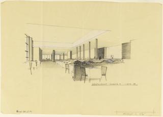 Drawing, Restaurant, Scheme B, sketch, Uris Hotels