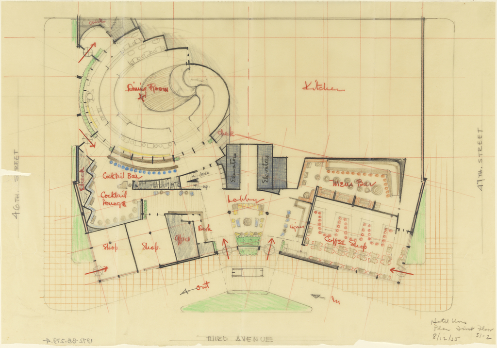 Detailed drawing of the plan for the first floor of Hotel Uris