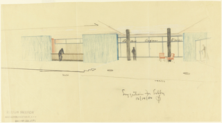 Drawing, Rough sketch, suggestion for lobby, for Uris Hotels
