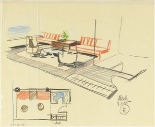 Drawing, Rough sketch, room E, for Uris Hotels