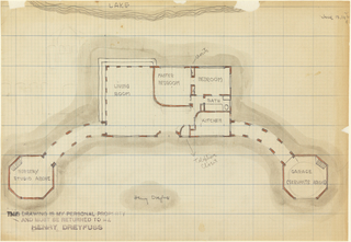 Drawing, Sketch of Floor Plan Facing a Lake, for Stage Set