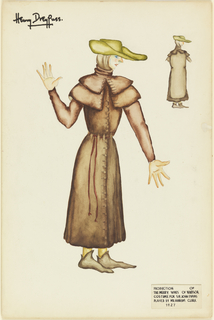 Costume design for a woman; she is dressed in brown garment with double collars and buttons, green hat and grayish shoes. Another figure is in the upper right with less detail.