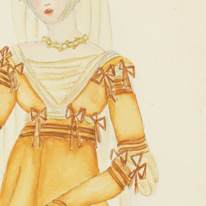 Costume design for a woman; she is dressed in a yellow garment with bows.