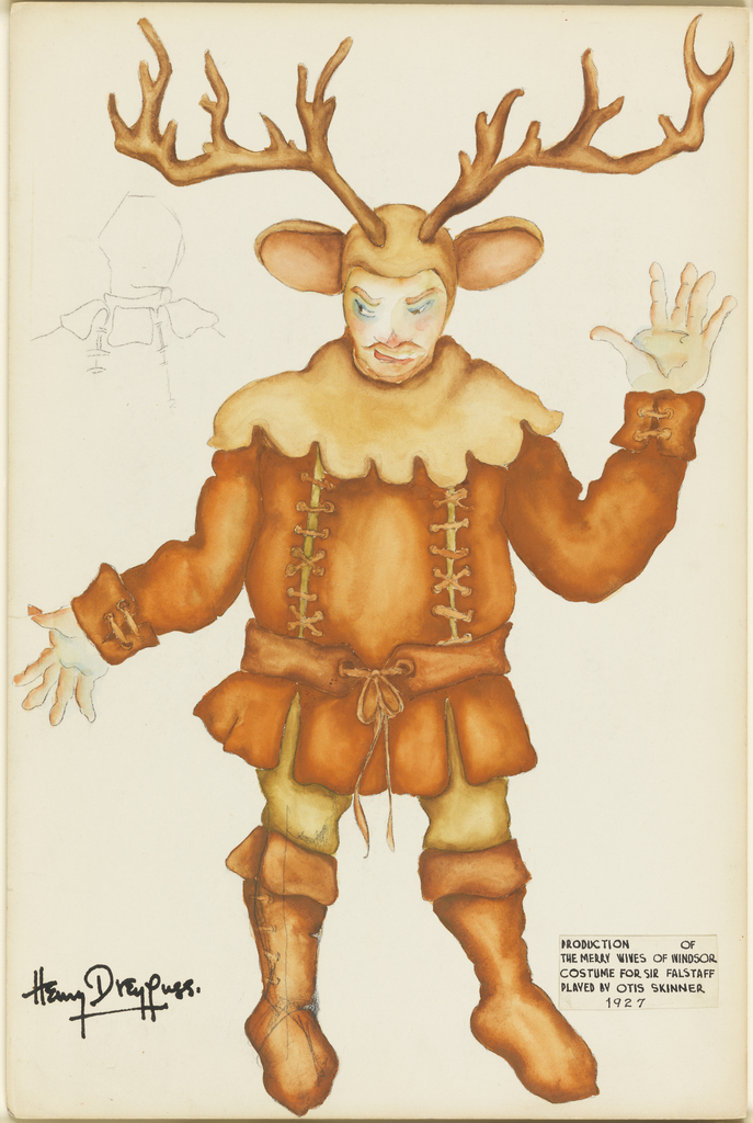 Drawing, Costume Design: Sir John Falstaff, for The Merry Wives of Windsor