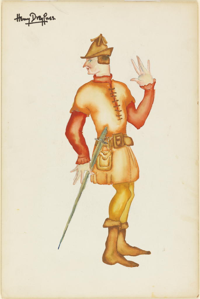 Costume design for male with brown-orange tunic over reddish shirt, yellow tights and brown boots. He has a sword at one side.
