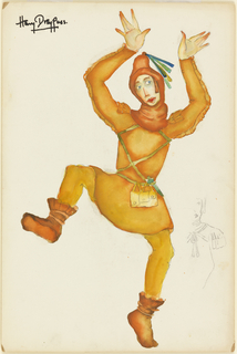Figure of a dancing man in an orange tunic, hat with tassels, yellow tights, and brown boots.