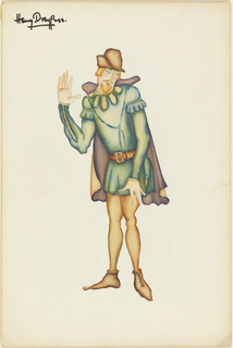 Man wearing green tunic and tan tights.